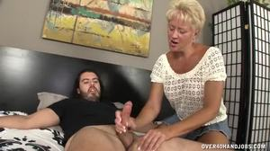 Granny, Aunt, Babysitter, Handjob, Grandmother, Blonde, Mature