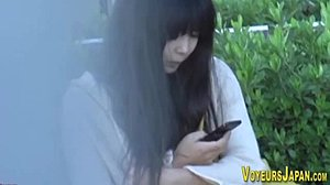 Asian, Petite, Upskirt, Outdoor, Voyeur, Food, Masturbation